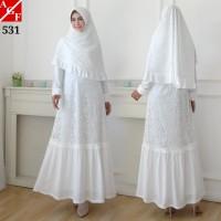 AGNES Baju Gamis Putih Wanita Syari Brukat Busana Muslim Lebaran 531