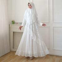 AGNES Baju Gamis Wanita Gamis Brukat Gamis Putih Baju Muslim 322