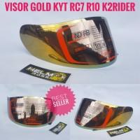Kaca Flat Visor - Iridium Gold KYT RC7 R10 K2RIDER MDS VICTORY