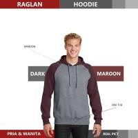 Sweater Hoodie Raglan Reglan Unisex DARK MAROOON M - XXXL