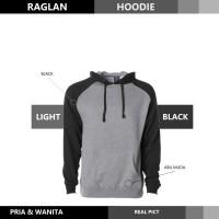 Sweater Hoodie Raglan Reglan Unisex LIGHT BLACK M - XXXL