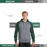 Sweater Hoodie Raglan Reglan Unisex DARK GREEN M - XXXL