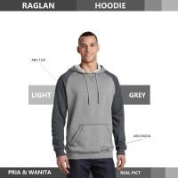 Sweater Hoodie Raglan Reglan Unisex LIGHT GREY M - XXXL