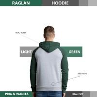 Sweater Hoodie Raglan Reglan Unisex LIGHT GREEN M - XXXL