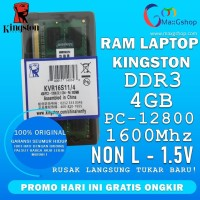 RAM LAPTOP DDR 3 4GB KINGSTON PC3-12800 BARU!!!