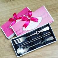 Souvenir Couple Set Spoon Fork u/wedding,ultah,dll