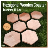Hexagonal wood coasters tatakan gelas kayu alami segi enam unik antik