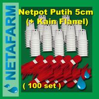 Netpot 5cm Putih + Flanel Sumbu Hidroponik ( Set 100pcs )