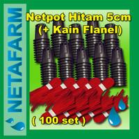 Netpot 5cm Hitam + Flanel Sumbu Hidroponik ( Set 100pcs )