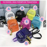 Tas ransel anak perempuan transparan plastic TAS ANAK IMPORT MURAH TAS