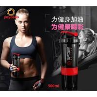 Botol Air Pipet Water Bottle 500 ML Cangkir Protein Bubuk Milkshake Mi