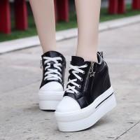 boot zipper high sepatu hak tinggi sneakers platform wedges korea