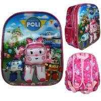 Tas sekolah / tas ransel TK 3D hologram Poli Robocar Pink- Import