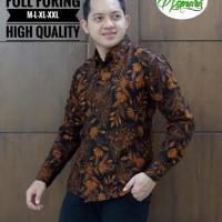 Kembang Coklat Kemeja Batik Solo Lengan Panjang Full Furing By Asmara - M
