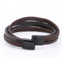 Genuine Leather Bracelet Titanium Steel Gelang Kulit Asli Pria 037