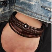 Genuine Leather Bracelet Titanium Steel Gelang Kulit Asli Pria 036
