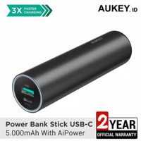 Aukey power bank mini 5000mah Usb-C Type-C with led + AiPower original