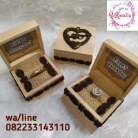 kotak mahar perhiasan box cincin single rustic bahan kayu natural