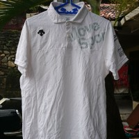 Kaos Kerah Olahraga Descente Polo Shirt White Size M