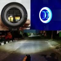 Lampu tembak motor daymaker bulat mini angel eye blue mobil - Putih