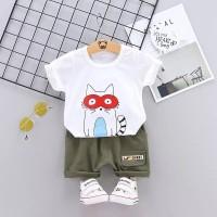 Setelan kaos T- Shirt lengan pendek gambar kucing + celana pendek