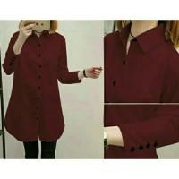 Baju Atasan Muslim Blouse Tunik Aqua button katun Good Quality