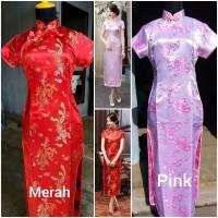 Dress Cheongsam Qipao Party Dress Import Baju Imlek Dress Sangjit - Navy Floral, M