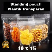 plastik standing pouch transparan 10x15 | ziplock plastik murah