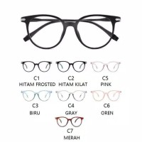 Kacamata Unisex frame lensa transparan Glases Plastik K-200