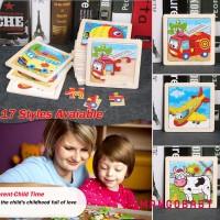 Limited ♬ MG ♪ Mainan Puzzle Kayu 3D Gambar Kartun untuk Edukasi