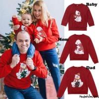 Sweater Kaos Hoodie Lengan Panjang Motif Natal untuk Pria / Wanita