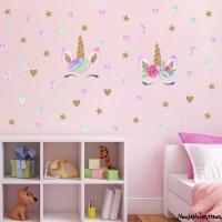 Stiker Dinding Decal Desain Unicorn untuk Kamar Anak Perempuan