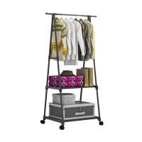 Triangle Stand hanger rak buku pakaian serbaguna dengan 4 roda