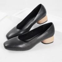 Guzzini MN 356 Hitam - Sepatu Heels Polos Casual 3cm