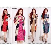 Cewek Midi Dress Batik Wanita Solo Kombi Brokat Lace Anti Luntur NG532