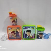 Paket souvenir ulangtahun bingkisan anak kotak makan hero tumbler
