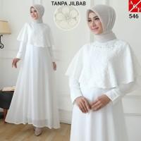 AGNES Baju Gamis Putih Wanita Brukat Busana Muslim Lebaran Pesta 546