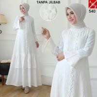 AGNES Baju Gamis Putih Wanita Brukat Busana Muslim Lebaran Pesta 540