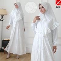 AGNES Baju Gamis Putih Wanita Syari Brukat Busana Muslim Lebaran 538