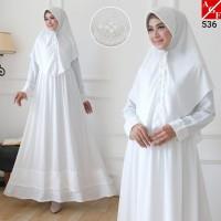 AGNES Baju Gamis Putih Wanita Syari Brukat Busana Muslim Lebaran 536
