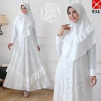 AGNES Baju Gamis Putih Wanita Syari Brukat Busana Muslim Lebaran 534