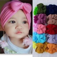 Turban Bayi Pita Pom-Pom Bunga 0-3th - Bandana Bayi - Kerudung Anak