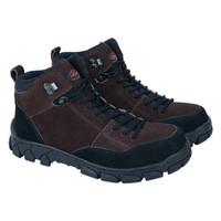 Sepatu Gunung Pria Sepatu Boots Hiking Kulit Asli Murah Coklat RR 023