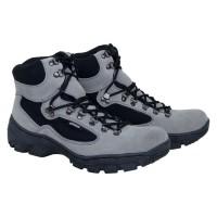 Sepatu Gunung Pria Sepatu Boots Hiking Kulit Asli Murah Abu Abu RR 003