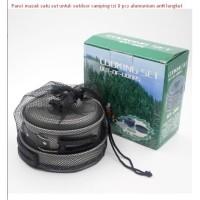 Panci masak satu set untuk outdoor camping isi 8 pcs alumunium anti le