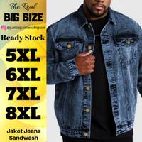 Jaket Jeans Trucker Pria Ukuran 2XL 3XL 4XL 5XL 6XL XXL XXXL XXXXL