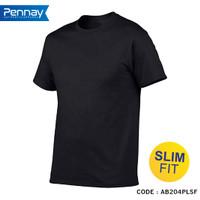 Kaos Polos Pria Slim Fit Code AB Series Soft Tees - Hitam, S