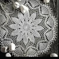 Taplak meja rajut bulat handmade doily crochet S16