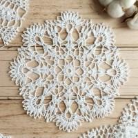 Taplak meja rajut bulat handmade doily crochet S15