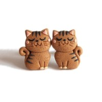 anting tusuk handmade clay kucing cat